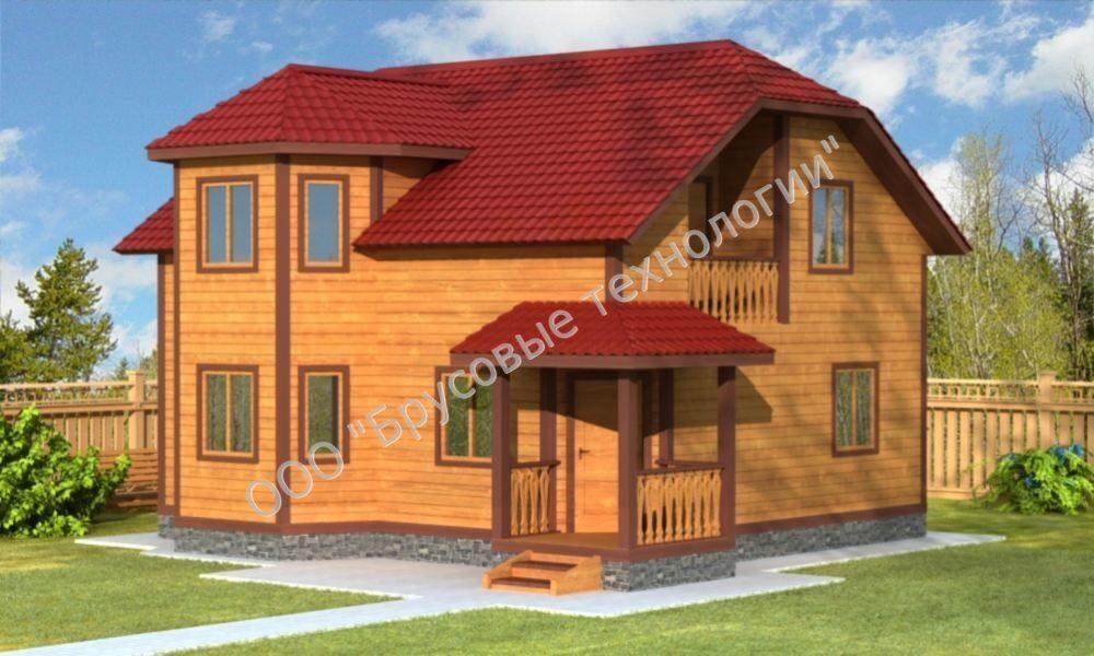 Проекты домов из бруса с эркером.
