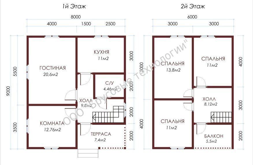 планировка дома 8 на 8 из бруса с мансардой фото
