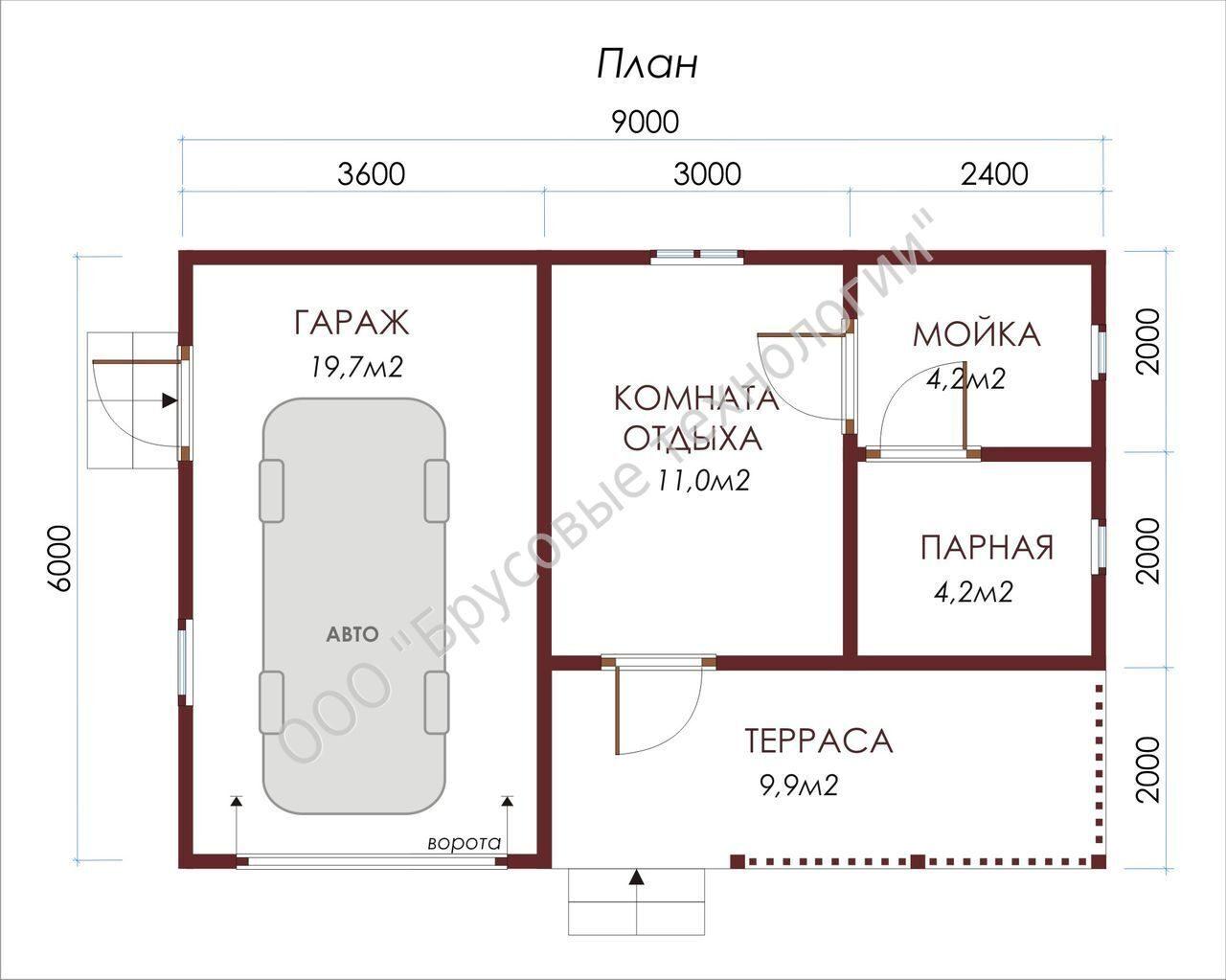 Дом баня и гараж под одной крышей фото