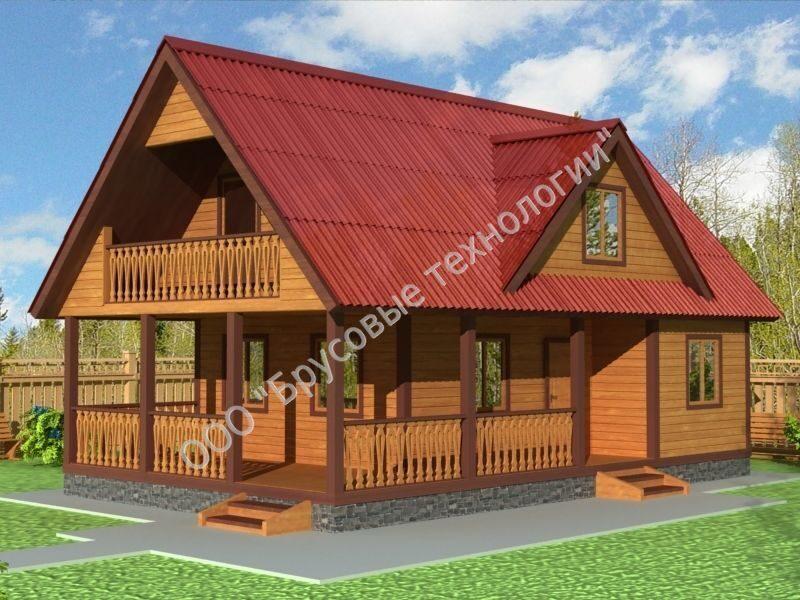 БРУС-10. Дом-баня 6*9 м — Каталог проектов деревянных домов - Свой ... | 600x800